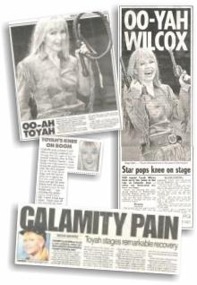 Toyah's knee - in the papers!